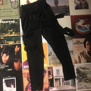 Ro and De black paper bag pants